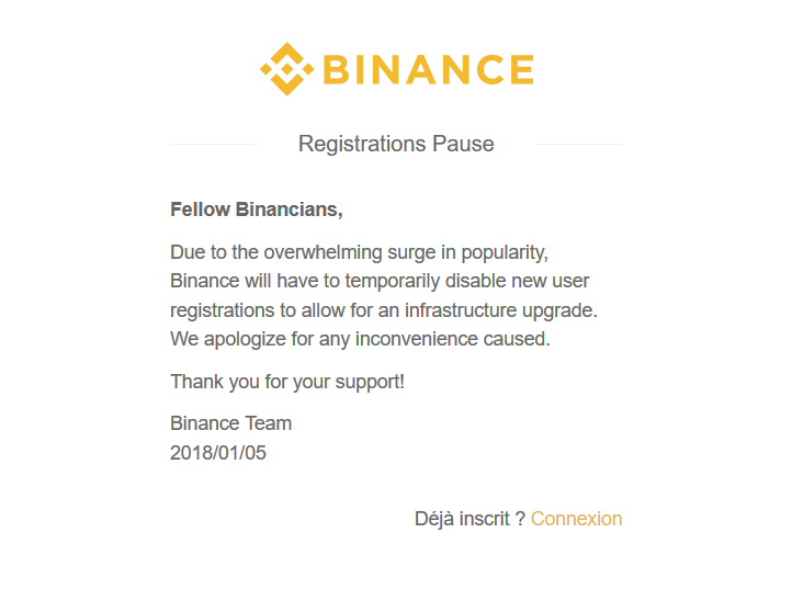binance fermé